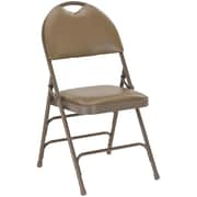 Flash Furniture HERCULES Series Extra Large Triple Braced Vinyl Metal Folding Chair with Easy-Carry Handle, Beige, 20/Pack