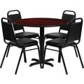 Flash Furniture 36in. Mahogany Laminate Table Set With 4 Black Trapezoidal Back Banquet Chairs