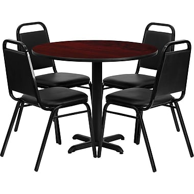 Flash Furniture 36'' Round Mahogany Laminate Table Set with X-Base and 4 Black Trapezoidal Back Banquet Chairs