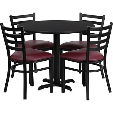 Flash Furniture 36'' Round Black Laminate Table Set with X-Base and 4 Ladder Back Metal Chairs, Burgundy Vinyl Seat