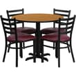 Flash Furniture 36in. Natural Laminate Table Set With 4 Ladder Back Metal Chairs, Burgundy