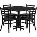 Flash Furniture 36in. Square Black Laminate Table Set With 4 Ladder Back Metal Chairs, Black