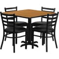 Flash Furniture 36in. Square Natural Laminate Table Set With 4 Ladder Back Metal Chairs, Black