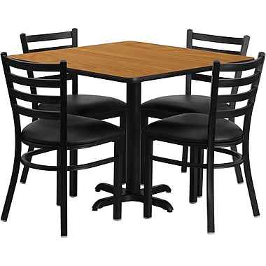 Flash Furniture 36'' Square Natural Laminate Table Set with X-Base and 4 Ladder Back Metal Chairs, Black Vinyl Seat