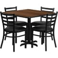 Flash Furniture 36in. Square Walnut Laminate Table Set With 4 Ladder Back Metal Chairs, Black