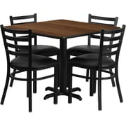 Flash Furniture 36'' Square Walnut Laminate Table Set with X-Base and 4 Ladder Back Metal Chairs, Black Vinyl Seat