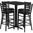 Flash Furniture 24in. x 42in. Black Laminate Table Set With 4 Ladder Back Metal Bar Stools, Black