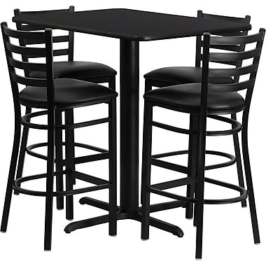 Flash Furniture 42in. x 24in. Black Laminate Table Set With 4 Ladder Back Metal Bar Stools, Black