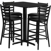 Flash Furniture 24''W x 42''L Rectangle Black Laminate X-Base Table Set with 4 Ladder Back Metal Bar Stools, Black Vinyl Seat