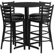 Flash Furniture 30in. Black Laminate Table Set With 4 Ladder Back Metal Bar Stools, Black