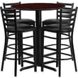Flash Furniture 30in. Mahogany Laminate Table Set With 4 Ladder Back Metal Bar Stools, Black