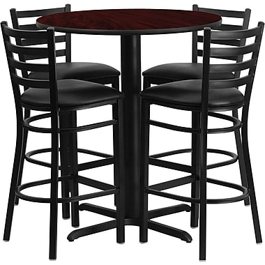 Flash Furniture 30in. Mahogany Laminate Table Sets With 4 Ladder Back Metal Bar Stools