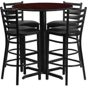 Flash Furniture 30'' Round Mahogany Laminate Table Set with X-Base and 4 Ladder Back Metal Bar Stools, Black Vinyl Seat