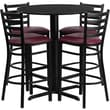 Flash Furniture 30in. Black Laminate Table Set With 4 Ladder Back Metal Bar Stools, Burgundy