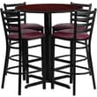 Flash Furniture 30in. Mahogany Laminate Table Set With 4 Ladder Back Metal Bar Stools, Burgundy