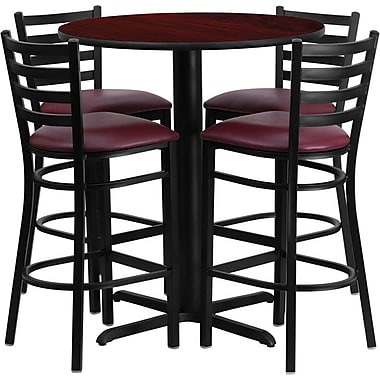 Flash Furniture 30'' Round Mahogany Laminate Table Set with X-Base and 4 Ladder Back Metal Bar Stools, Burgundy Vinyl Seat