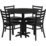 "Flash Furniture 36"" Black Laminate Table Sets With 4 Ladder Back Metal Chairs"