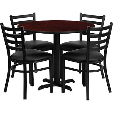 Flash Furniture 36in. Mahogany Laminate Table Sets With 4 Ladder Back Metal Chairs