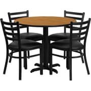 Flash Furniture 36'' Round Natural Laminate Table Set with X-Base and 4 Ladder Back Metal Chairs, Black Vinyl Seat