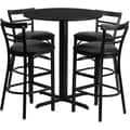 Flash Furniture 24in. Black Laminate Table Sets With 4 Ladder Back Metal Bar Stools