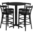 Flash Furniture 24in. Black Laminate Table Set With 4 Ladder Back Metal Bar Stools, Black
