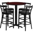 Flash Furniture 24'' Round Mahogany Laminate Table Set with X-Base and 4 Ladder Back Metal Bar Stools, Black Vinyl Seat