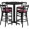 Flash Furniture 24'' Round Black Laminate Table Set with X-Base and 4 Ladder Back Metal Bar Stools, Burgundy Vinyl Seat