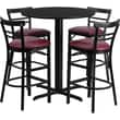 Flash Furniture 24in. Black Laminate Table Set With 4 Ladder Back Metal Bar Stools, Burgundy