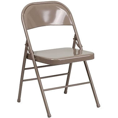 Flash Furniture HERCULES™ Steel Armless Folding Chair, Beige, 12/Pack