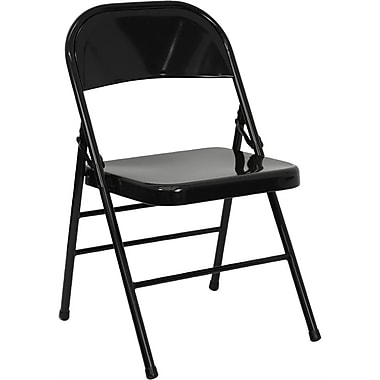 Flash Furniture HERCULES Series Triple Braced & Quad Hinged Metal Folding Chair, Black, 20/Pack