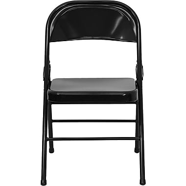 Flash Furniture HERCULES Series Triple Braced & Quad Hinged Metal Folding Chair, Black, 4/Pack