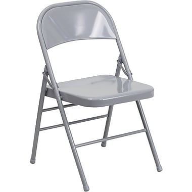 Flash Furniture HERCULES Series Triple Braced & Quad Hinged Metal Folding Chair, Gray, 12/Pack