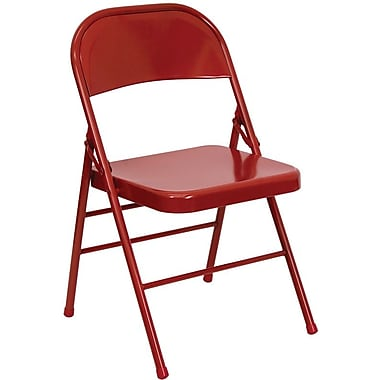 Flash Furniture HERCULES Series Triple Braced & Quad Hinged Metal Folding Chair, Red, 20/Pack