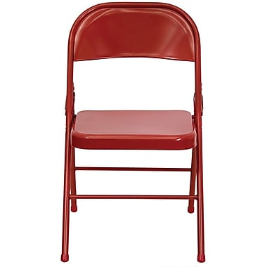 Flash Furniture HERCULES Series Triple Braced & Quad Hinged Metal Folding Chair, Red, 4/Pack