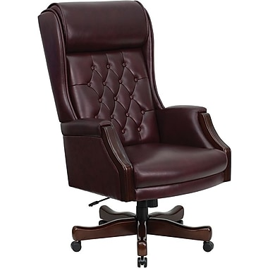 Flash Furniture Leather Executive Office Chair, Fixed Arms, Burgundy (KCC696TG)