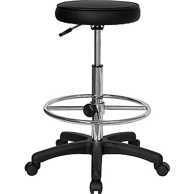 Flash Furniture Backless Vinyl Drafting Stool With Adjustable Foot Ring, Black