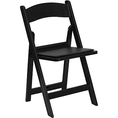 Flash Furniture HERCULES Series 1000 lb. Capacity Resin Folding Chair with Black Vinyl Seat, Black, 20/Pack