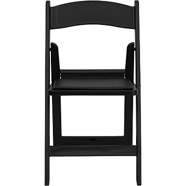 Flash Furniture HERCULES Series 1000 lb. Capacity Resin Folding Chair with Black Vinyl Seat, Black, 4/Pack