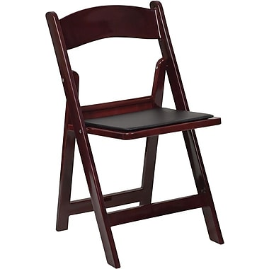 Flash Furniture HERCULES Series 1000 lb. Capacity Resin Folding Chair with Black Vinyl Seat, Red Mahogany, 12/Pack