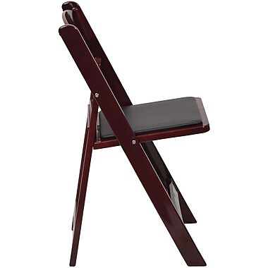 Flash Furniture HERCULES Series 1000 lb. Capacity Resin Folding Chair with Black Vinyl Seat, Red Mahogany, 80/Pack