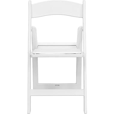 Flash Furniture HERCULES Series 1000 lb. Capacity Resin Folding Chair with White Vinyl Seat, White, 24/Pack
