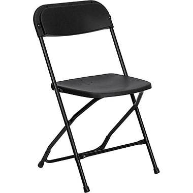 Flash Furniture HERCULES Series 800 lb. Capacity Plastic Folding Chair, Black, 20/Pack