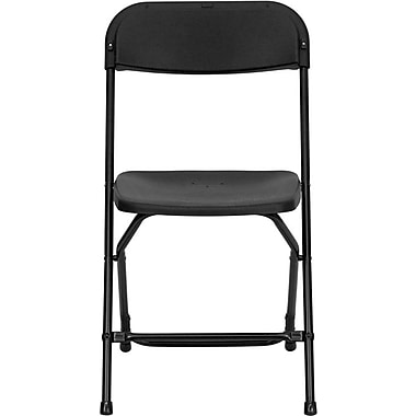 Flash Furniture HERCULES Series 800 lb. Capacity Plastic Folding Chair, Black, 24/Pack