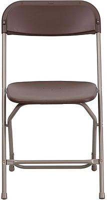 Flash Furniture HERCULES Series 800 lb. Capacity Premium Plastic Folding Chair, Brown, 32/Pack 201256