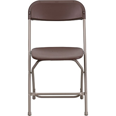 Flash Furniture HERCULES™ Plastic Armless Folding Chair, Premium Brown, 20/Pack