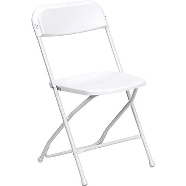 Flash Furniture HERCULES™ Plastic Armless Folding Chair, Premium White, 4/Pack