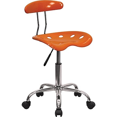 Flash Furniture Chrome Low Back Computer Task Chair With Tractor Seat, Vibrant Orange