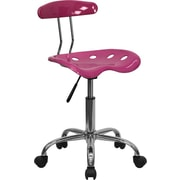 Flash Furniture LF-214-PINK-GG Polymer Armless Computer Task Chair, Pink