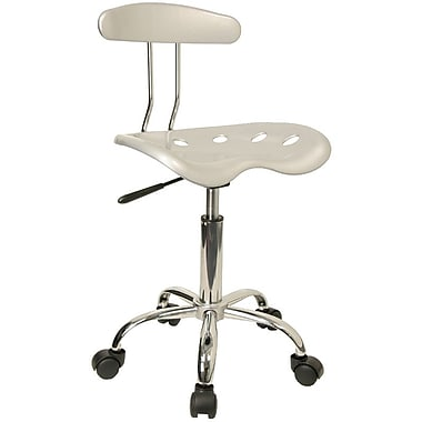 Flash Furniture Vibrant Computer Task Chair with Tractor Seat, Silver