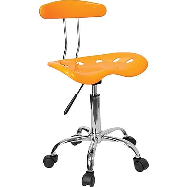 Flash Furniture Chrome Low Back Computer Task Chair With Tractor Seat, Vibrant Orange/Yellow